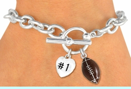 """<Br>                 EXCLUSIVELY OURS!<BR>  W19371B - POLISHED SILVER TONE<br> """"#1"""" HEART & FOOTBALL CHARM<br>           TOGGLE BRACELET FROM<Br>                      $3.60 TO $8.00"""