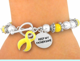 """<br>               """"EXCLUSIVELY OURS""""<BR>W5020B - """"KEEP MY FATHER SAFE""""<Br>CHARM & YELLOW RIBBON & CAT'S<bR>       EYE """"SUPPORT OUR TROOPS""""<br>       STRETCH/TOGGLE BRACELET<BR>               FROM $2.25 TO $5.00"""