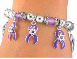 <BR>                    EXCLUSIVELY OURS!!!<br>W5192B - PURPLE AWARENESS RIBBON<BR>               & STAR OF DAVID STRETCH<br> BRACELET&#169;2005 FROM $2.25 TO $5.00
