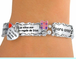 """<Br>                    EXCLUSIVELY OURS!!<bR> W5211B - SPANISH MOTHER'S PRAYER<bR>""""LA ORACION DE UNA MADRE"""" STRETCH<Br> BRACELET&#169;2010 FROM $3.94 TO $8.75"""