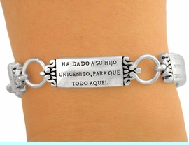 """<bR>               EXCLUSIVELY OURS!!<br>W5282B - RELIGIOUS """"JUAN 3:16""""<Br>   SPANISH SCRIPTURE MAGNETIC<Br>    CLASP BRACELET&#169;2005 FROM<BR>                     $3.94 TO $8.75"""