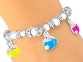 <bR>                       EXCLUSIVELY OURS!!!<Br>W5447B - NEW! MULTICOLOR PING-PONG<bR>      PADDLE CHARM STRETCH BRACELET<Br>                          AS LOW AS $3.90