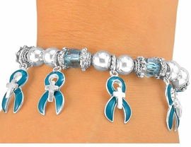<bR>                 EXCLUSIVELY OURS!!<Br>W5477B - TEAL AWARENESS RIBBON<BR>& CROSS STRETCH BRACELET&#169;2005<BR>                FROM $2.81 TO $6.25