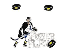 "<Br>                    EXCLUSIVELY OURS!!!<bR>    W8300PE - POLISHED SILVER TONE<Br>""POWER PLAY"" HOCKEY PENDANT/PIN<Br>       & EARRING SET AS LOW AS $5.25 Each"