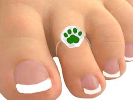 <Br>            EXCLUSIVELY OURS!<bR>     W9511TR - BRIGHT GREEN<br>PAW PRINT STRETCH TOE RING<bR>                AS LOW AS $1.30