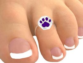 <Br>           EXCLUSIVELY OURS!<bR>     W9514TR - DARK PURPLE<br>PAW PRINT STRETCH TOE RING<bR>              AS LOW AS $1.30