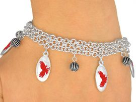 <Br>              EXCLUSIVELY OURS!<bR>W9549B - MIRROR SILVER TONE<BR>RED MASCOT-EAGLES-FALCONS<Br>BRACELET FROM $5.06 TO $11.25