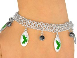 <Br>                EXCLUSIVELY OURS!<bR>    W9551B - MIRROR SILVER TONE<BR>GREEN MASCOT-EAGLES-FALCONS<Br>           HAWKS BRACELET FROM<bR>                    $5.06 TO $11.25