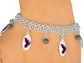 <Br>                 EXCLUSIVELY OURS!<bR>     W9554B - MIRROR SILVER TONE<BR>PURPLE MASCOT-EAGLES-FALCONS<Br>            HAWKS BRACELET FROM<Br>                     $5.06 TO $11.25