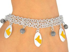 <Br>                     EXCLUSIVELY OURS!<bR>        W9594B - MIRROR SILVER TONE<BR>YELLOW COLTS -MUSTANGS-BRONCOS<Br>       BRACELET FROM $5.06 TO $11.25
