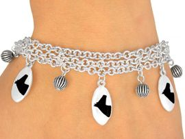 <Br>                    EXCLUSIVELY OURS!<bR>      W9596B - MIRROR SILVER TONE<BR>BLACK COLTS -MUSTANGS-BRONCOS<Br>      BRACELET FROM $5.06 TO $11.25