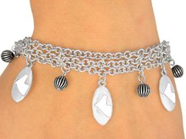<Br>                   EXCLUSIVELY OURS!<bR>       W9597B - MIRROR SILVER TONE<BR>WHITE COLTS -MUSTANGS-BRONCOS<Br>      BRACELET FROM $5.06 TO $11.25