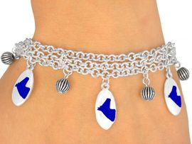 <Br>                   EXCLUSIVELY OURS!<bR>    W9598B - MIRROR SILVER TONE<BR>BLUE COLTS -MUSTANGS-BRONCOS<Br>    BRACELET FROM $5.06 TO $11.25