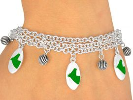 <Br>                    EXCLUSIVELY OURS!<bR>       W9600B - MIRROR SILVER TONE<BR>GREEN COLTS -MUSTANGS-BRONCOS<Br>      BRACELET FROM $5.06 TO $11.25