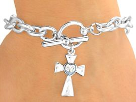 <Br>                   EXCLUSIVELY OURS!<Br> W9603B - POLISHED SILVER FINISH<br>CRYSTAL HEART CENTER CROSS DROP<Br>              TOGGLE BRACELET FROM<bR>                          $3.35 TO $7.50