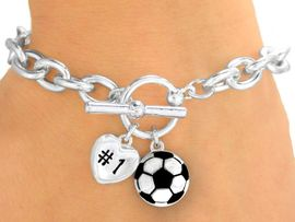 """<Br>                 EXCLUSIVELY OURS! <BR>  W9708B - POLISHED SILVER TONE<br>""""#1"""" HEART & SOCCER BALL CHARM<br>            TOGGLE BRACELET FROM<Br>                      $3.60 TO $8.00"""