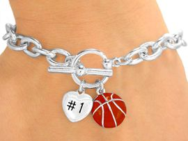 "<Br>                 EXCLUSIVELY OURS!<BR>  W9709B - POLISHED SILVER TONE<br>""#1"" HEART & BASKETBALL CHARM<br>           TOGGLE BRACELET FROM<Br>                      $3.60 TO $8.00"