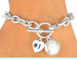 """<Br>               EXCLUSIVELY OURS!<BR>W9711B - POLISHED SILVER TONE<br> """"#1"""" HEART & BASEBALL CHARM<br>         TOGGLE BRACELET FROM<Br>                    $3.60 TO $8.00"""