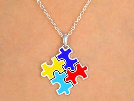 """<BR>              EXCLUSIVELY OURS!!<BR>W9743N - """"PUZZLE PIECE BLOCK""""<Br>  AUTISM AWARENESS NECKLACE<Br>            FROM $6.10 TO $9.85<BR>                            &#169;2008"""