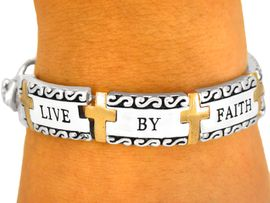 """<BR> GREAT SELLER FOR 8 YEARS STRAIGHT!<Br>                   LEAD & NICKEL FREE!!<bR>  W8353B - RELIGIOUS """"LIVE BY FAITH""""<br> SCRIPTURE TILE TWO-TONE BRACELET<Br>                  FROM $10.13 TO $22.50"""