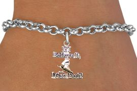 """<BR>"""" If I Believe It, I Can Do It! """" ICE SKATING ADJUSTABLE CHAIN BRACELET<BR>                            AN ORIGINAL ALLAN ROBIN CUSTOM DESIGN<br>                                          WHOLESALE CHARM BRACELET <BR>                                        LEAD, CADMIUM & NICKEL FREE!!  <BR>              W21542B-HIGH POLISHED, BRIGHT ADJUSTABLE SILVER TONE  <BR>                                BRACELET FROM $4.50 TO $8.35 EACH! &#169;2015"""