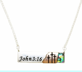 """<BR>        John 3:16 """"For God So Loved The World That He Gave His One And Only Son<BR>               That Whoever Believes In Him Shall Not Perish But Have Eternal Life"""", <BR>Mother Of Pearl, Silvertone Bar,  Necklace, Hypoallergenic Safe- No Nickel, Lead, Or<BR>                              Poisonous Cadmium From $9.78 To $12.38  �2018 <BR>                                                                       W29427N12"""