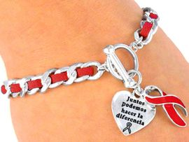 """<BR>                LA PRIMERA PULSERA <BR>ROJA DEL CONOCIMIENTO EN ESPAÑOL<br>       W5167B - SUEDE LEATHER LINK<BR>   SPANISH  RED AWARENESS TOGGLE<BR> """"Together We Can Make A Difference""""<BR> """"Juntos Podemos Hacer La Diferencia""""<BR>        BRACELET FROM $2.85 TO $7.50<BR> EXCLUSIVELY OURS! WE ARE THE ONLY <BR> MANUFACTURER OF THIS BRACELET!<Br>                                 &#169;2005"""