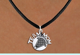 """<br>    LACROSSE NECKLACE WHOLESALE <bR>                   EXCLUSIVELY OURS!! <BR>              AN ALLAN ROBIN DESIGN!! <BR>     CLICK HERE TO SEE 1000+ EXCITING <BR>           CHANGES THAT YOU CAN MAKE! <BR>        CADMIUM, LEAD & NICKEL FREE!! <BR>       W1483SN - DETAILED SILVER TONE <BR> """"TEAM MOM"""" LACROSSE CHARM & NECKLACE <BR>             FROM $4.85 TO $8.30 �2013"""