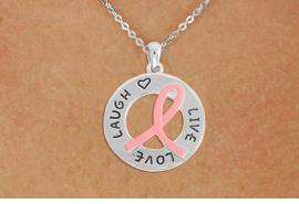 <BR>                 LEAD AND NICKEL FREE! <BR>                   ALLAN ROBIN DESIGN<BR>                  ASSEMBLED IN THE USA<BR>        W17399N - LIVE LOVE LAUGH PINK <BR>        RIBBON RING CHARM & CHAIN<BR>           NECKLACE FROM $4.73 TO $10.50<br>                                   &#169;2010