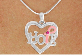 "<BR>                 LEAD AND NICKEL FREE! <BR>                   ALLAN ROBIN DESIGN<BR>                  ASSEMBLED IN THE USA<BR>         W17411N - ""HOPE"" PINK RIBBON <BR>  AWARENESS HEART CHARM & SNAKE <BR>    CHAIN NECKLACE FROM $4.73 TO $10.50<br>                                   &#169;2010"