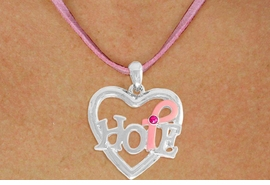 "<BR>                 LEAD AND NICKEL FREE! <BR>                   ALLAN ROBIN DESIGN<BR>                  ASSEMBLED IN THE USA<BR>         W17412N - ""HOPE"" PINK RIBBON <BR>   AWARENESS HEART CHARM & PINK <BR>    SUEDE NECKLACE FROM $4.73 TO $10.50<br>                                   &#169;2010"