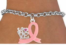 """<BR>                 LEAD AND NICKEL FREE! <BR>                   ALLAN ROBIN DESIGN<BR>                  ASSEMBLED IN THE USA<BR>         W17415B - """"LOVE"""" PINK RIBBON <BR> TOGGLE BRACELET FROM $4.73 TO $10.50<br>                                   &#169;2010"""