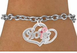 """<BR>                 LEAD AND NICKEL FREE! <BR>                   ALLAN ROBIN DESIGN<BR>                  ASSEMBLED IN THE USA<BR>         W17419B - """"HOPE"""" PINK RIBBON <BR>        DOUBLE HEART CHARM & TOGGLE <BR>        BRACELET FROM $4.50 TO $10.00<br>                                   &#169;2010"""