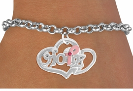 """<BR>                 LEAD AND NICKEL FREE! <BR>                   ALLAN ROBIN DESIGN<BR>                  ASSEMBLED IN THE USA<BR>         W17420B - """"HOPE"""" PINK RIBBON <BR>               DOUBLE HEART CHARM & <BR>        BRACELET FROM $4.50 TO $10.00<br>                                   &#169;2010"""