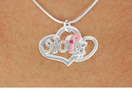 "<BR>                 LEAD AND NICKEL FREE! <BR>                   ALLAN ROBIN DESIGN<BR>                  ASSEMBLED IN THE USA<BR>         W17421N - ""HOPE"" PINK RIBBON <BR>       DOUBLE HEART CHARM & SNAKE <BR>    CHAIN NECKLACE FROM $4.50 TO $10.00<br>                                   &#169;2010"