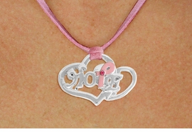 "<BR>                 LEAD AND NICKEL FREE! <BR>                   ALLAN ROBIN DESIGN<BR>                  ASSEMBLED IN THE USA<BR>         W17422N - ""HOPE"" PINK RIBBON <BR>           DOUBLE HEART CHARM & PINK <BR>    SUEDE NECKLACE FROM $4.50 TO $10.00<br>                                   &#169;2010"