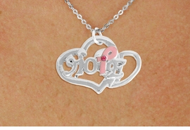 "<BR>                 LEAD AND NICKEL FREE! <BR>                   ALLAN ROBIN DESIGN<BR>                  ASSEMBLED IN THE USA<BR>         W17423N - ""HOPE"" PINK RIBBON <BR>           DOUBLE HEART CHARM & CHAIN<BR>         NECKLACE FROM $4.50 TO $10.00<br>                                   &#169;2010"