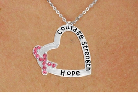 "<BR>                 LEAD AND NICKEL FREE! <BR>                   ALLAN ROBIN DESIGN<BR>                  ASSEMBLED IN THE USA<BR>      W17430N - ""COURAGE STRENGTH<br>         AND HOPE "" HEART SHAPED <br>      PENDANT ON A CHAIN NECKLACE<br>                FROM $4.73 TO $10.50<br>                                   &#169;2010"