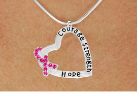 "<BR>                 LEAD AND NICKEL FREE! <BR>                   ALLAN ROBIN DESIGN<BR>                  ASSEMBLED IN THE USA<BR>      W17431N - ""COURAGE STRENGTH<br> AND HOPE "" HEART SHAPED PENDANT<br>         ON A SNAKE CHAIN NECKLACE<br>                   FROM $4.73 TO $10.50<br>                                   &#169;2010"