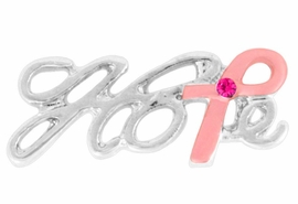 "<BR>                 LEAD AND NICKEL FREE! <BR>                   ALLAN ROBIN DESIGN<BR>          W17410P -  ""HOPE"" PINK RIBBON <BR>          TACK PIN WITH PINK AUSTRIAN  <BR>                CRYSTALS $ .97 EACH PIN<br>                                   &#169;2010<BR>           MINIMUM QUANTITY 10 PINS <br>    NO ADDITIONAL DISCOUNTS APPLY"