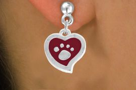 <BR>             LEAD AND NICKEL FREE!  <BR>              ASSEMBLED IN THE USA<BR>  CLICK HERE TO SEE 500+ EXCITING<BR>   CHANGES THAT YOU CAN MAKE!<BR>        W804SE - RED AND SILVER<BR>              PAW HEART EARRING <Br>                FROM $5.10 TO $8.35