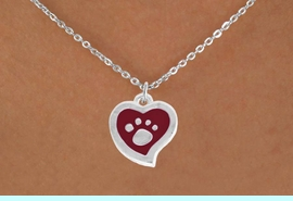 <BR>             LEAD AND NICKEL FREE!  <BR>              ASSEMBLED IN THE USA<BR>  CLICK HERE TO SEE 500+ EXCITING<BR>   CHANGES THAT YOU CAN MAKE!<BR>        W804SN - RED AND SILVER<BR>              PAW HEART & NECKLACE<Br>                FROM $4.50 TO $8.35