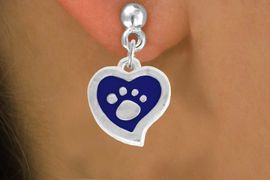 <BR>             LEAD AND NICKEL FREE!  <BR>              ASSEMBLED IN THE USA<BR>  CLICK HERE TO SEE 500+ EXCITING<BR>   CHANGES THAT YOU CAN MAKE!<BR>        W805SE - BLUE AND SILVER<BR>              PAW HEART EARRING <Br>                FROM $5.10 TO $8.35