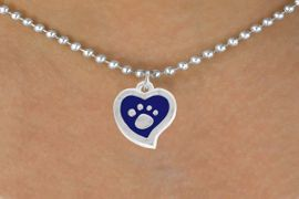 <BR>             LEAD AND NICKEL FREE!  <BR>              ASSEMBLED IN THE USA<BR>  CLICK HERE TO SEE 500+ EXCITING<BR>   CHANGES THAT YOU CAN MAKE!<BR>        W805SN -BLUE AND SILVER<BR>              PAW HEART & NECKLACE<Br>                FROM $4.50 TO $8.35