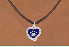 <BR>             LEAD AND NICKEL FREE!  <BR>              ASSEMBLED IN THE USA<BR>  CLICK HERE TO SEE 500+ EXCITING<BR>   CHANGES THAT YOU CAN MAKE!<BR>        W805SN - BLUE AND SILVER<BR>              PAW HEART & NECKLACE<Br>                FROM $4.50 TO $8.35
