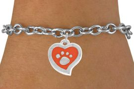 <BR>             LEAD AND NICKEL FREE!  <BR>              ASSEMBLED IN THE USA<BR>  CLICK HERE TO SEE 500+ EXCITING<BR>   CHANGES THAT YOU CAN MAKE!<BR>        W806SB - ORANGE AND SILVER<BR>              PAW HEART & BRACELET<Br>                FROM $4.50 TO $8.35