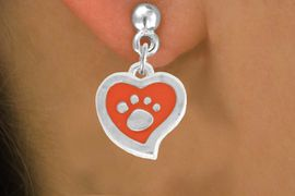 <BR>             LEAD AND NICKEL FREE!  <BR>              ASSEMBLED IN THE USA<BR>  CLICK HERE TO SEE 500+ EXCITING<BR>   CHANGES THAT YOU CAN MAKE!<BR>        W806SE - ORANGE AND SILVER<BR>              PAW HEART EARRING <Br>                FROM $5.10 TO $8.35