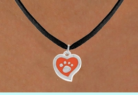 <BR>             LEAD AND NICKEL FREE!  <BR>              ASSEMBLED IN THE USA<BR>  CLICK HERE TO SEE 500+ EXCITING<BR>   CHANGES THAT YOU CAN MAKE!<BR>        W806SN - ORANGE AND SILVER<BR>              PAW HEART & NECKLACE<Br>                FROM $4.50 TO $8.35