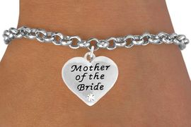 "<BR>                LEAD AND NICKEL FREE!  <BR>    MADE AND ASSEMBLED IN THE USA<BR>                    ALLAN ROBIN DESIGN<BR>      CLICK HERE TO SEE 500+ EXCITING<BR>       CHANGES THAT YOU CAN MAKE!<BR>        W807SB - ""MOTHER OF THE BRIDE""<BR> HEART & BRACELET FROM $4.50 TO $8.35"