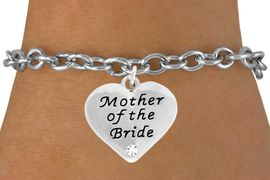 """<BR>                LEAD AND NICKEL FREE!  <BR>    MADE AND ASSEMBLED IN THE USA<BR>                    ALLAN ROBIN DESIGN<BR>      CLICK HERE TO SEE 500+ EXCITING<BR>       CHANGES THAT YOU CAN MAKE!<BR>        W807SB - """"MOTHER OF THE BRIDE""""<BR> HEART & BRACELET FROM $4.50 TO $8.35"""